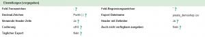 Parameter für die CSV-Datei (Formatierung)